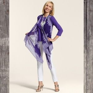 Chico's Paisley Handkerchief Vest Purple